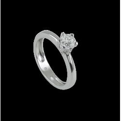 Solitaire ring in white Gold - diamond 0.50 ct - model Corona