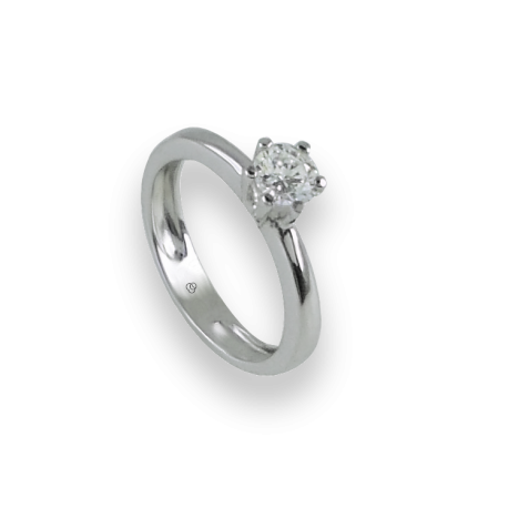 Solitaire ring in white Gold - diamond 0.50 ct - model Corona