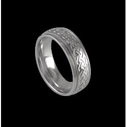 White gold celtic ring rounded surface polished finish model th1b_uomo