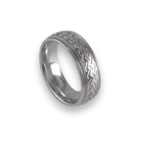 White gold celtic ring rounded surface polished finish model th1b_uomo