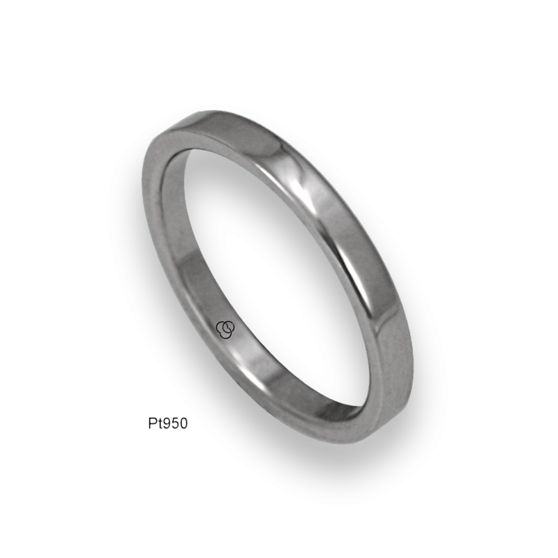 Platinum ring flat surface polished finish model ab82-50tpw_d