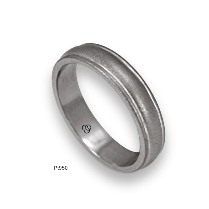 Platinum ring flat surface polished finish model ab82-50tpw