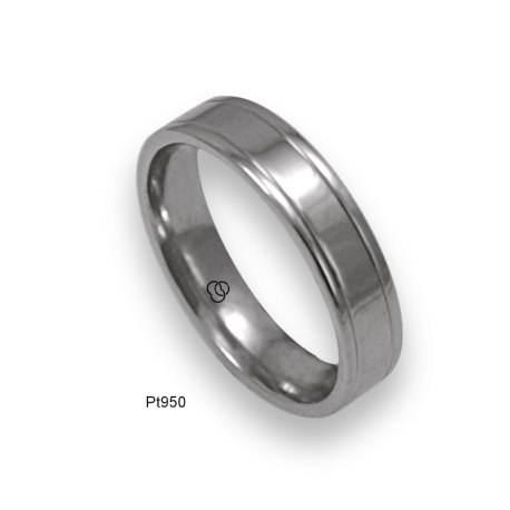 Platinum ring flat surface polished finish two channels model ab05-70tpw_d