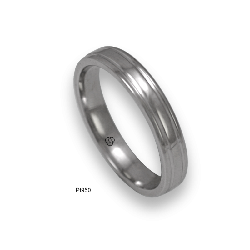 Platinum ring rounded surface polished finish two channels, model ab04-90tpw
