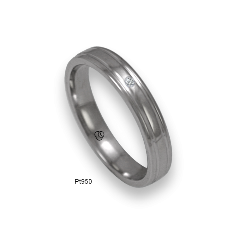 Platinum ring rounded surface polished finish two channels, one diamond, model ab04-90tpw-d