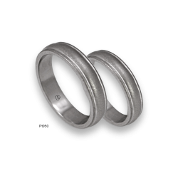 Platinum 950 wedding rings, diamond and sandblasted finish, two glossy channels, model sb05-31tp.