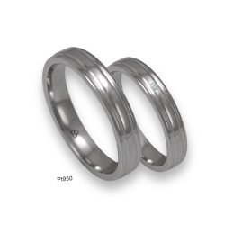 Platinum 950 wedding rings, sligtly rounded surface with two cnannels, polished finish. Model ab04-90tpw.