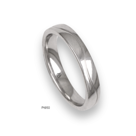 Platinum ring, flat surface, polished finish, one wave shaped channel, model ab04-21tp