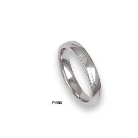 Platinum ring, flat surface, polished finish, one wave shaped channel, one diamond, model ab04-21tp_dia