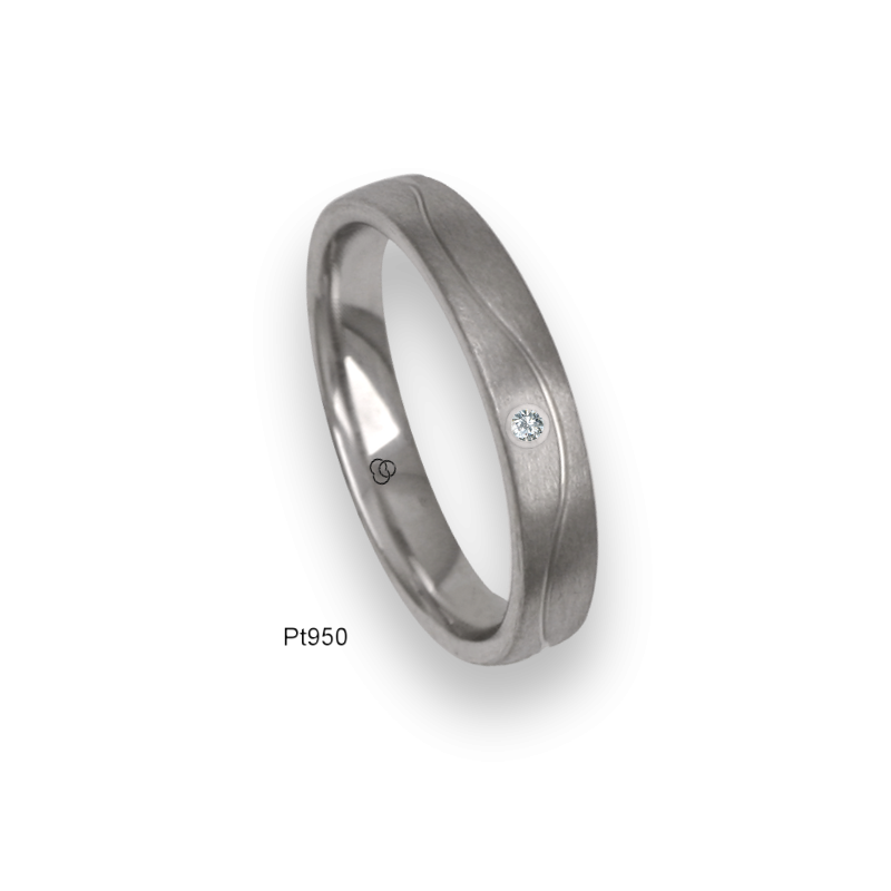 Platinum ring, flat surface, vertical sandblasted finish, one wave shaped channel, one diamond, model bb04-21tp_dia