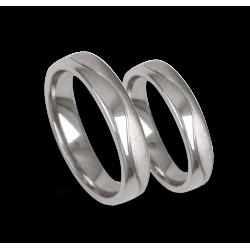 Platinum 950 wedding rings, flat surface, polished and sandblasted finish, model m-ab54-21tp