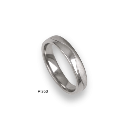 Platinum ring, flat surface, sandblasted and polished finish, one wave shaped channel, model m-ab54-21tp_d