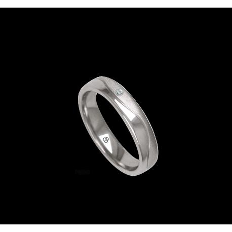 Platinum ring, flat surface, sandblasted and polished finish, one wave shaped channel, one diamond, model m-ab54-21tp_dia