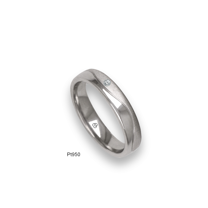 Platinum ring, flat surface, sandblasted and polished finish, one wave shaped channel, one diamond, model m-ab54-21tp_dia