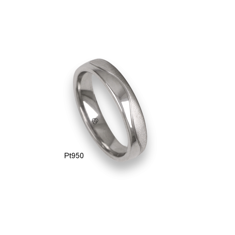 Platinum ring, flat surface, sandblasted and polished finish, one wave shaped channel, model m-ab54-21tp