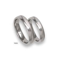 Platinum 950 wedding rings, flat surface, polished and sandblasted finish, one diamond, model mab54-21tp_u_d_dia