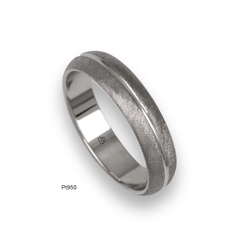 Platinum ring, rounded surface, vertical wire brushed finish, one middle channel, model3b05-60tpw_u