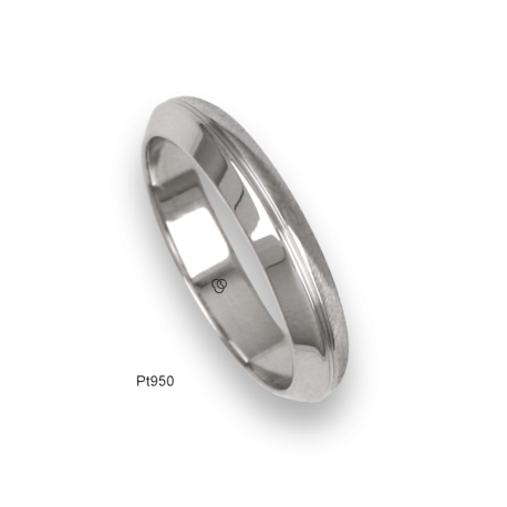 Platinum ring, flat and rounded surface, polished and wire brushed finish, one middle channel, mode 3l-ab24-02tp_u