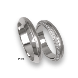 Platinum wedding rings, flat and rounded surface, a ring with 36/50 diamonds, model 3l-ab24-02tp_u_d_dia