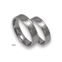 Platinum 950 wedding rings, flat surface, polished fisish with two channels. Model ab05-70tpw