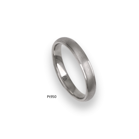 Platinum ring, rounded surface, vertical satin finish and polished at the sides, model bb63-41tp_d