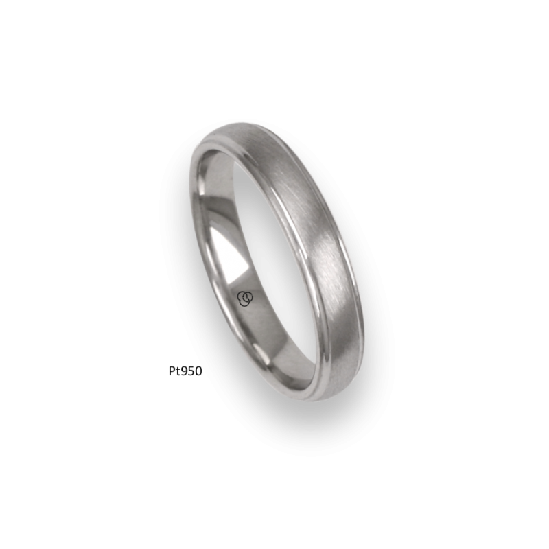 Platinum ring, rounded surface, brush finish and polished at the sides, model mb04-41tp_d