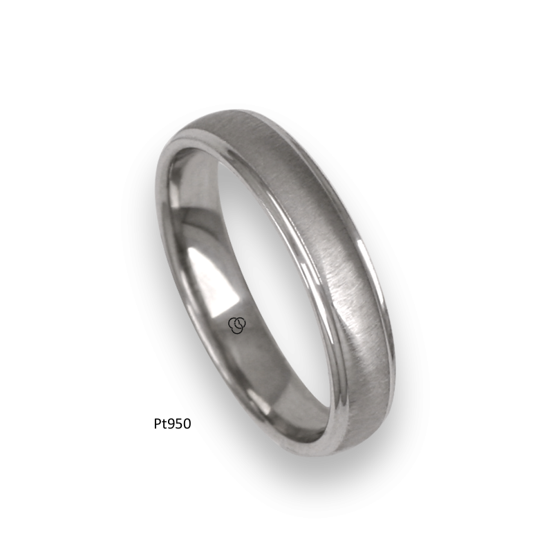 Platinum ring, rounded surface, satin finish and polished at the sides, model lb54-41tp_u