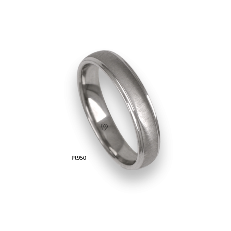 Platinum ring, rounded surface, satin finish and polished at the sides, model lb54-41tp_d