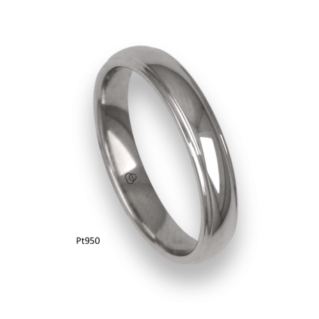 Platinum ring, rounded surface, polished finish, model ab63-41tp_u