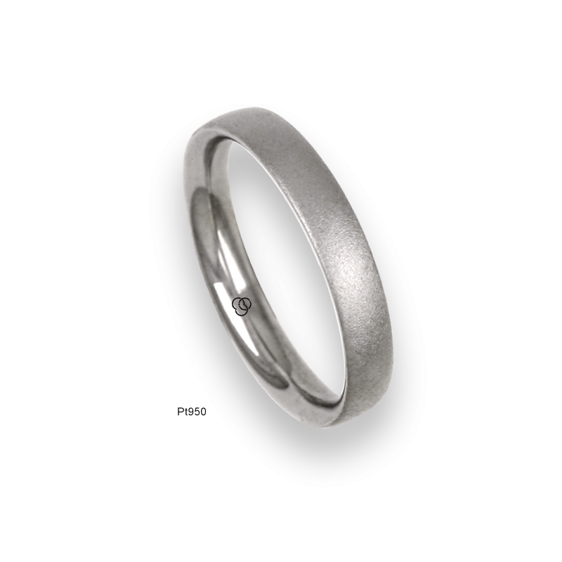 Platinum ring, slightly rounded surface, speckled finish, model sb83-12tp_u