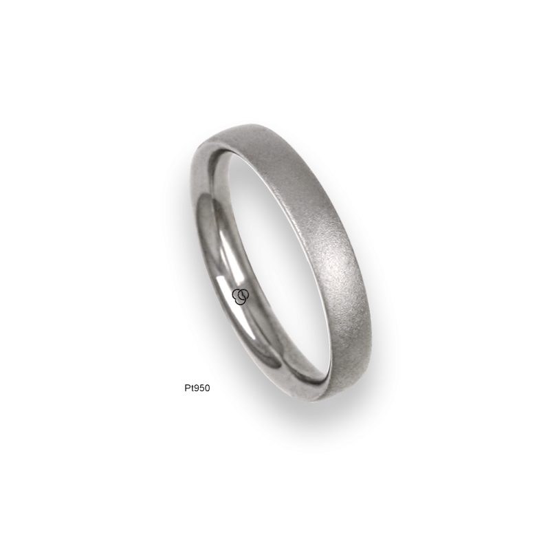 Platinum ring, slightly rounded surface, speckled finish, model sb83-12tp_d