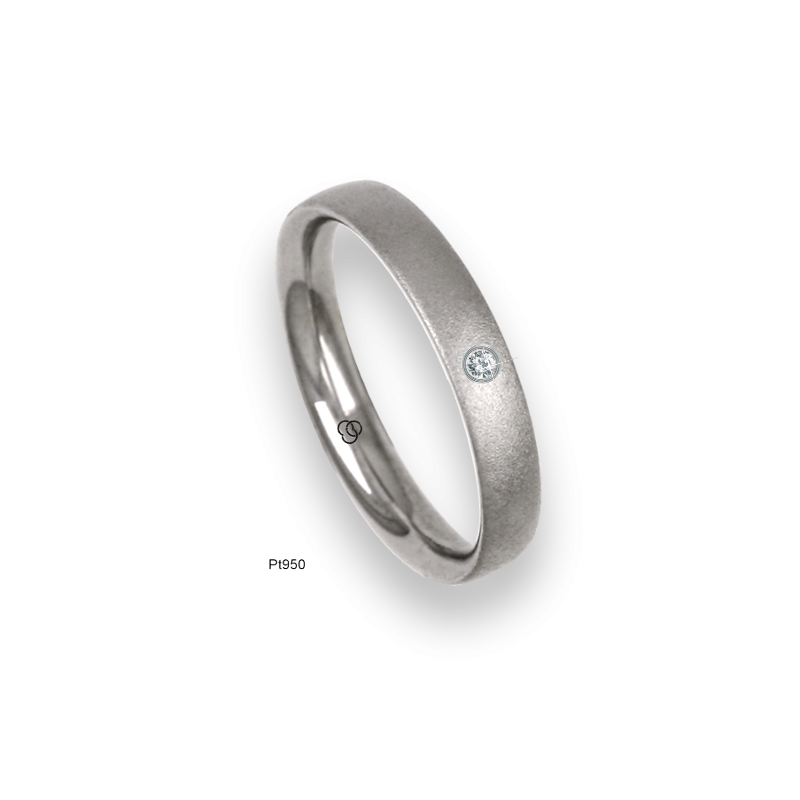Platinum ring, slightly rounded surface, speckled finish, one diamond, model sb83-12tp_dia