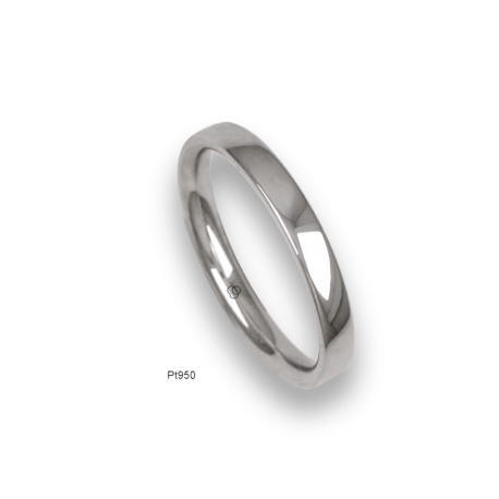 Platinum ring, slightly rounded surface, polished finish, model ab03-12_u