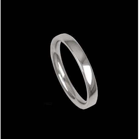 Platinum ring, slightly rounded surface, polished finish, model ab03-12_d