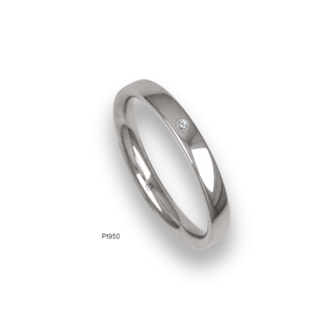 Platinum ring, slightly rounded surface, polished finish, one diamond, model ab03-12_dia