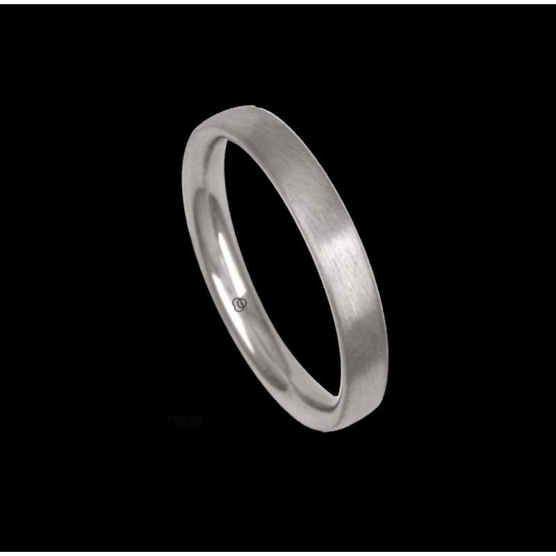 Platinum ring, rounded surface, satin finish, model bb33-12tp_u
