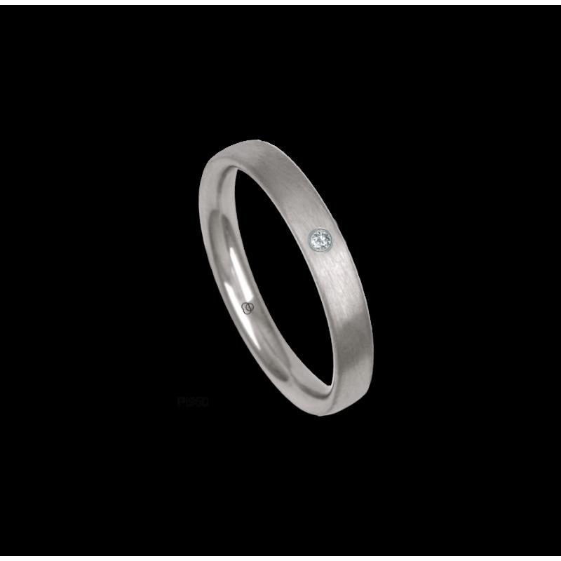 Platinum ring, rounded surface, satin finish, one diamond, model bb33-12tp_dia