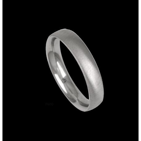 Platinum ring, rounded surface, soft brush finish, model bb44-12tp_u