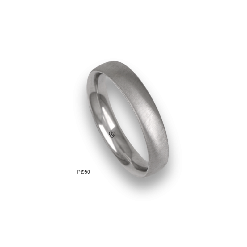 Platinum ring, rounded surface, soft brush finish, model bb44-12tp_d