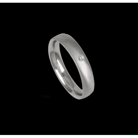 Platinum ring, rounded surface, soft brush finish, one diamond, model bb44-12tp_dia