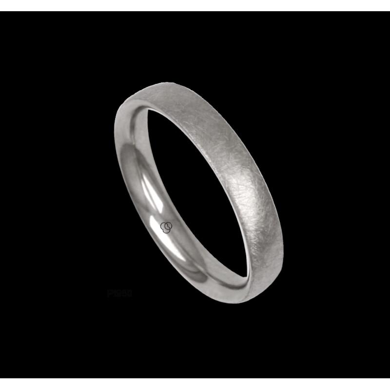 Platinum ring, rounded surface, ice finish, model jb04-12tp_u