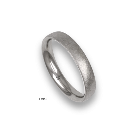 Platinum ring, rounded surface, ice finish, model jb04-12tp_d