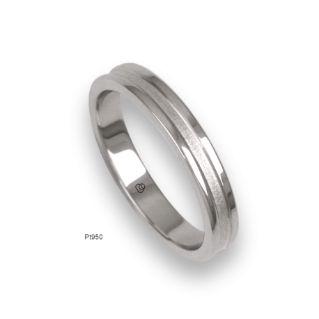 Platinum ring, polished finifish at the sides and sandblasted at the center, model vb04-81tp_u
