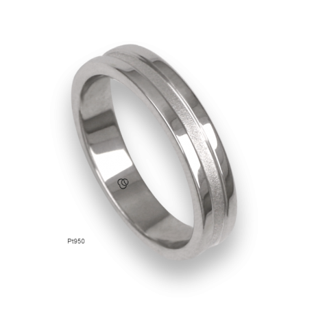Platinum ring, polished finifish at the sides and sandblasted at the center, model vb54-81tp_u