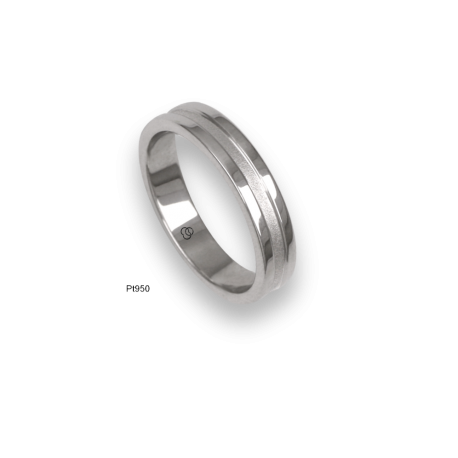 Platinum ring, polished finifish at the sides and sandblasted at the center, model vb54-81tp_d
