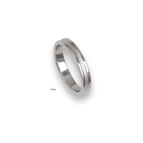 Platinum ring, polished finifish at the sides and sandblasted at the center, model vb63-81tp_d