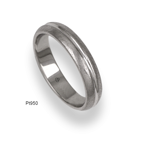 950 Platinum ring / wedding ring, ice finish at the sides and polished at the center, model jb54-91tp_u