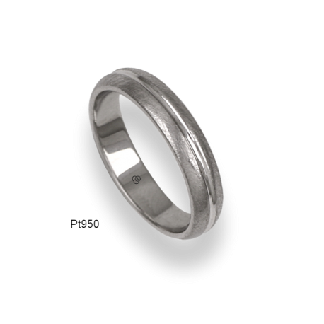 950 Platinum ring / wedding ring, ice finish at the sides and polished at the center, model jb54-91tp_d