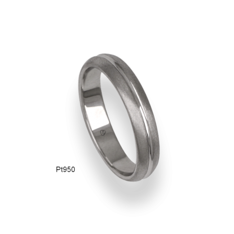 950 Platinum ring / wedding ring, satin finish at the sides and polished at the center, model lb24-91tp_u