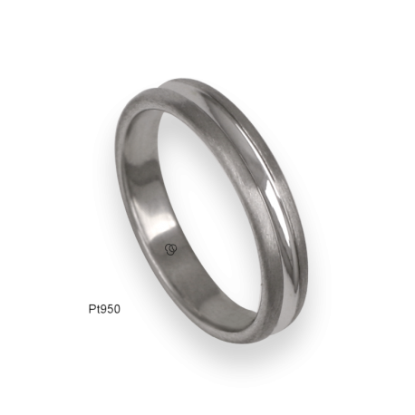 950 Platinum ring / wedding ring, satin finish at the sides and polished at the center, model bb24-61tp_u